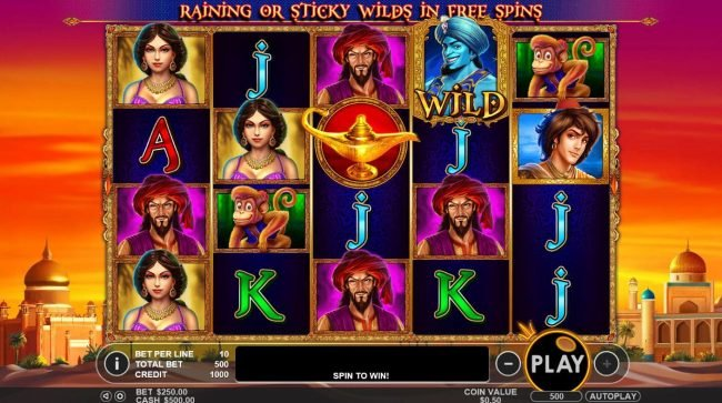 3 Genie Wishes :: A magic genie themed main game board featuring five reels and 50 paylines with a $2,000 max payout