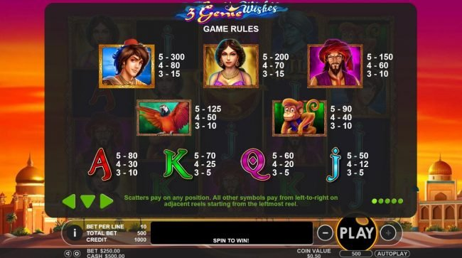 Go Wild featuring the Video Slots 3 Genie Wishes with a maximum payout of $2,000