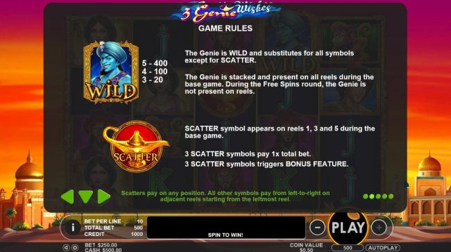 3 Genie Wishes :: Wild and Scatter Symbols Rules and Pays