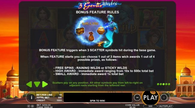 3 Genie Wishes :: Bonus Feature Rules - Three scatter symbols hit during the base game triggers the bonus game.