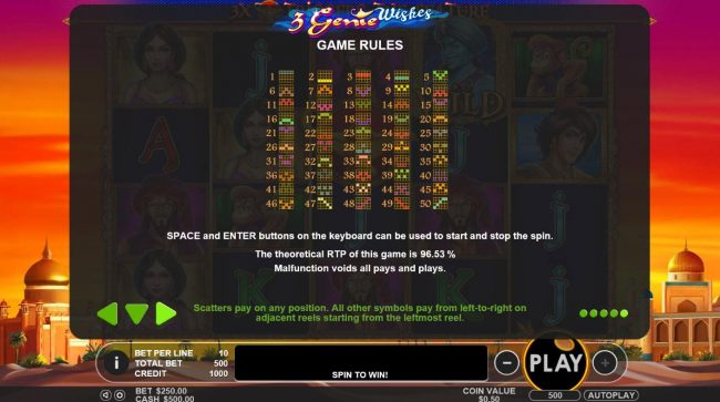 3 Genie Wishes :: Paylines Diagrams 1-50. The theoretical return to player for this game is 96.53%