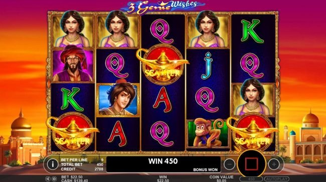 3 Genie Wishes :: Three magic lamp scatter symbols anywhere on the reels , triggers the free spins feature.