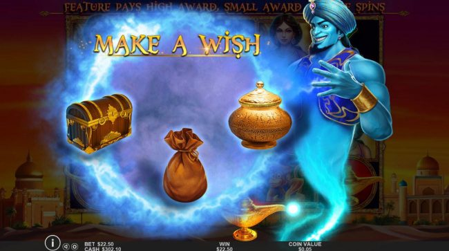 3 Genie Wishes :: Make a Wish - Select one of three items to reveal your prize award.