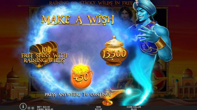Winward featuring the Video Slots 3 Genie Wishes with a maximum payout of $2,000