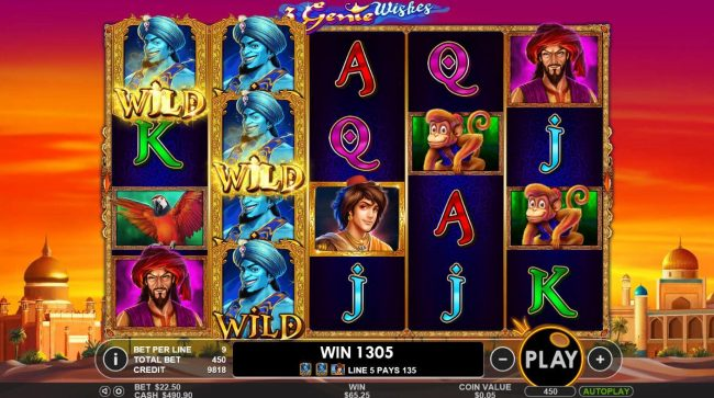 3 Genie Wishes :: Multiple winning paylines triggers a 1305 coin big win!