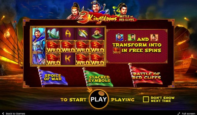 3 Kingdoms Battle of Red Cliffs :: Game features include: Spoils of War, Stacked symbols and Batlle of Red Cliffs Bonus.