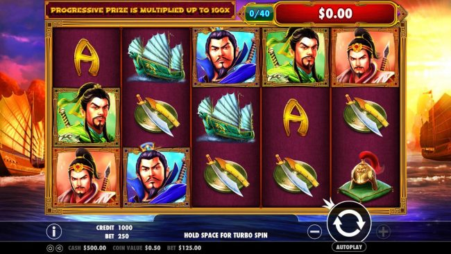 3 Kingdoms Battle of Red Cliffs :: Main game board featuring five reels and 25 paylines with a $50,000 max payout.