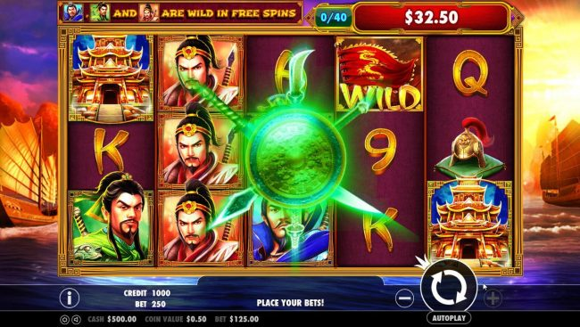 3 Kingdoms Battle of Red Cliffs :: Everytime all three warriors land on the reels together, you will earn 1 point. Collect 40 points to trigger the progressive jackpot.