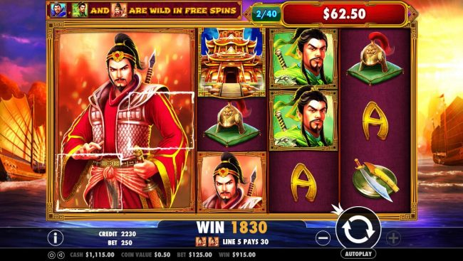 3 Kingdoms Battle of Red Cliffs :: Stacked wilds triggers an 1830 coin super jackpot.