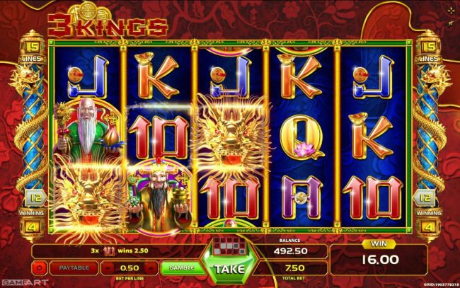 Kingbit Casino featuring the Video Slots 3 Kings with a maximum payout of $30,000