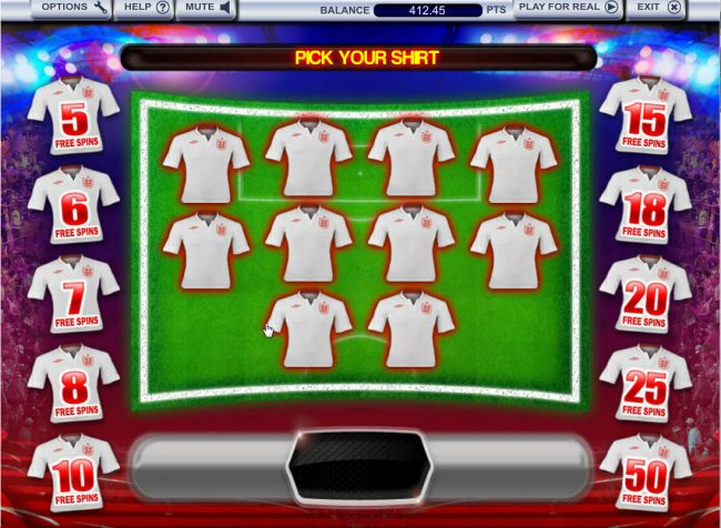 Select a jersey to reveal free spins