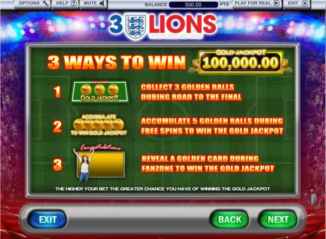 Yako Casino featuring the Video Slots 3 Lions with a maximum payout of $100,000