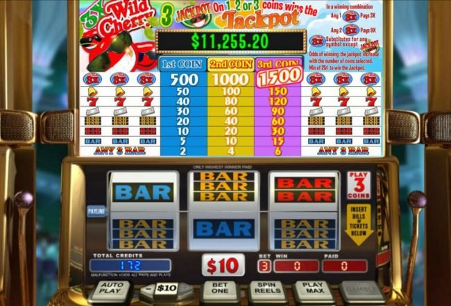 A classic 3-reel themed main game board featuring three reels and 1 payline with a progressive jackpot max payout