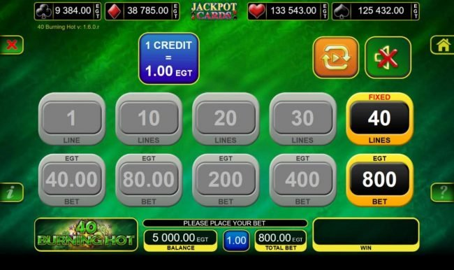 Boaboa featuring the Video Slots 40 Burning Hot with a maximum payout of $80,000