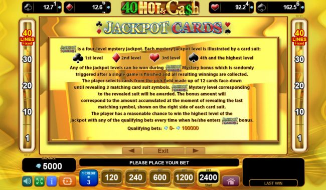 Boaboa featuring the Video Slots 40 Hot & Cash with a maximum payout of $480,000