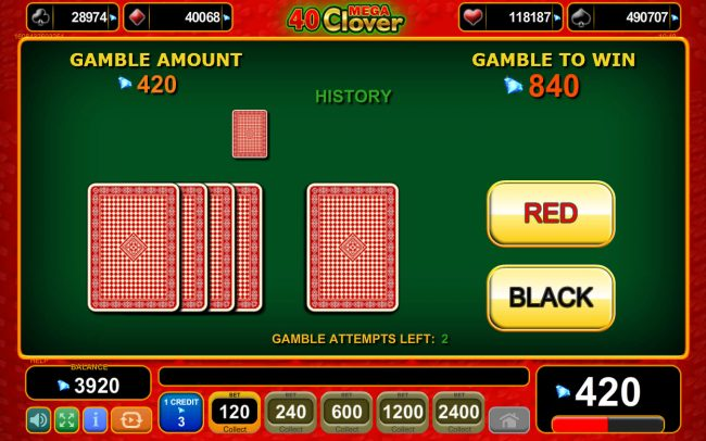 Boaboa featuring the Video Slots 40 Mega Clover with a maximum payout of 0