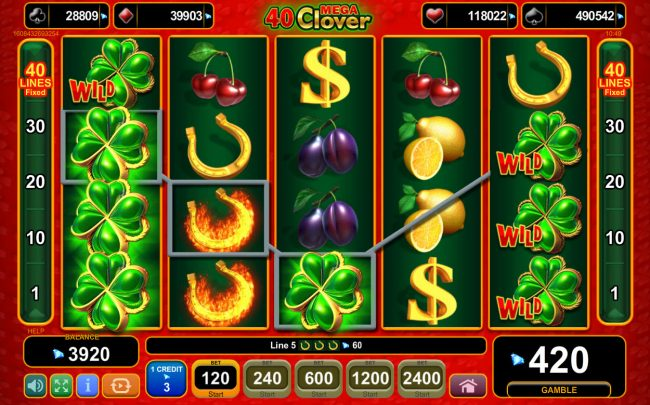 Queen Vegas featuring the Video Slots 40 Mega Clover with a maximum payout of 0