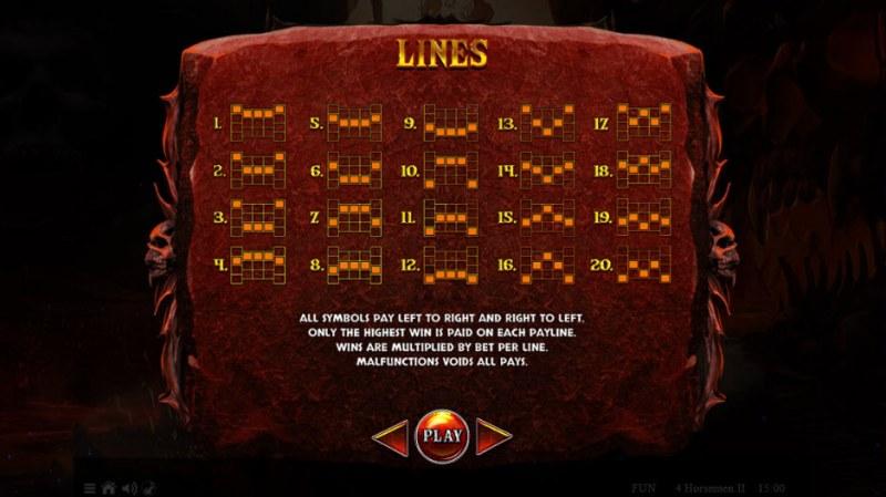 4 Horsemen II :: Paylines 1-20