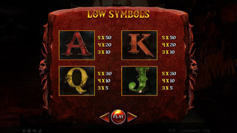 4 Horsemen II :: Paytable - Low Value Symbols