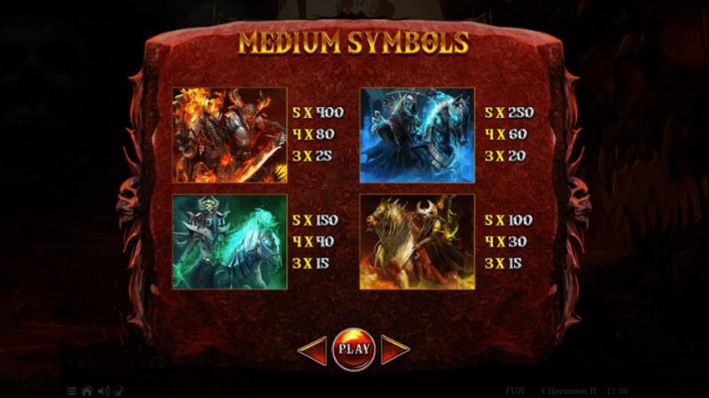 4 Horsemen II :: Paytable - High Value Symbols