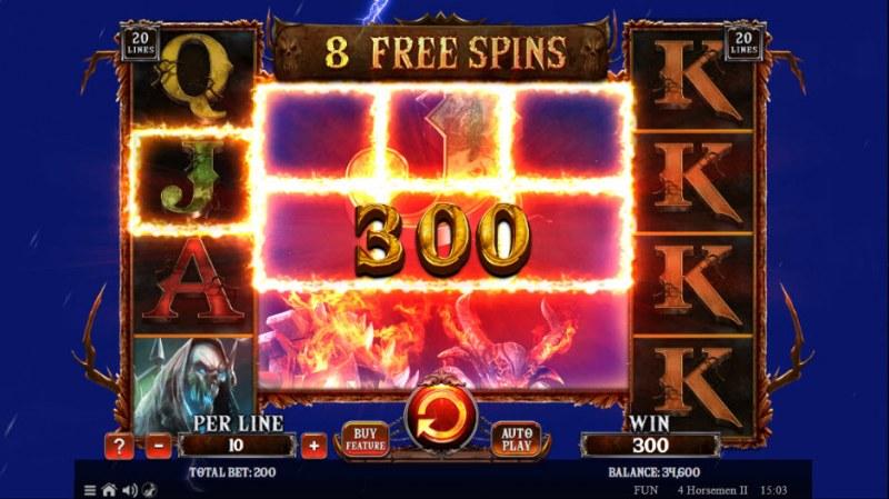 4 Horsemen II :: Free Spins Game Board