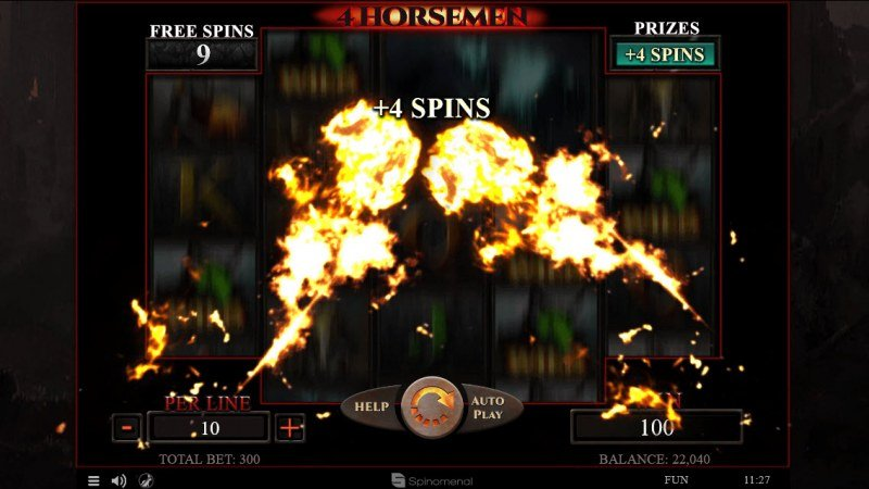 4 Horsemen :: Random chance to earn extra free spins or win multipliers