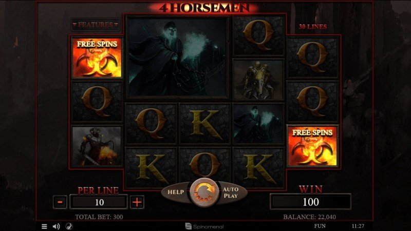 4 Horsemen :: Scatter symbols triggers the free spins feature