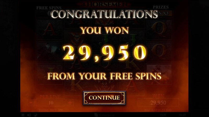 4 Horsemen :: Total free spins payout