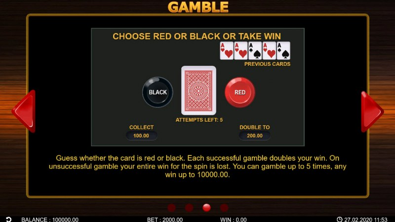 40 Hot Spins :: Gamble Feature Rules