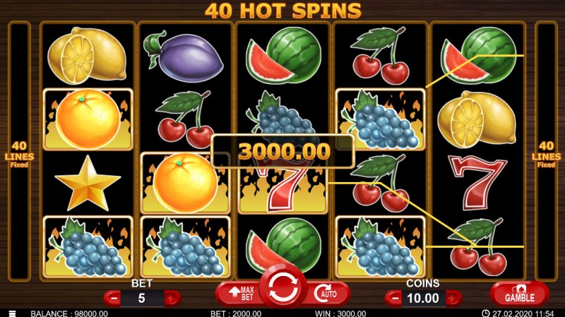 40 Hot Spins :: Multiple winning paylines