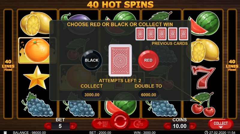 40 Hot Spins :: Black or Red Gamble Feature