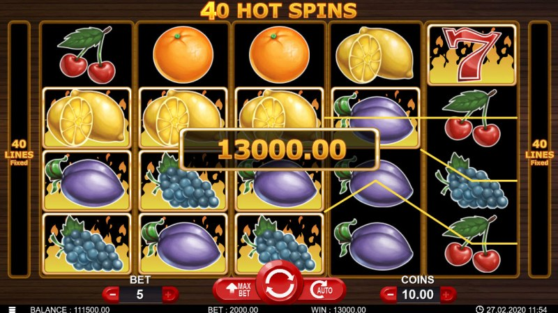 40 Hot Spins :: Multiple winning combinations leads to a big win