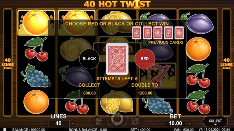 40 Hot Twist :: Red or Black Gamble Feature