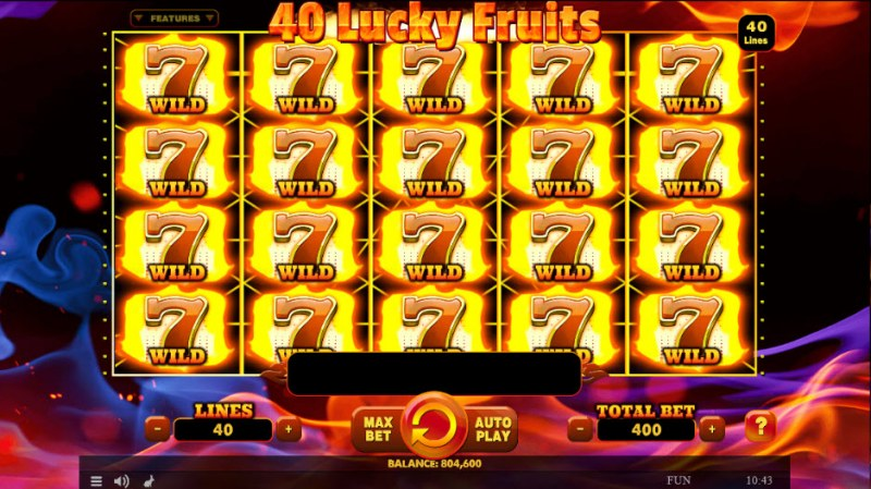 40 Lucky Fruits :: Fully stacked wild symbols triggers an epic win