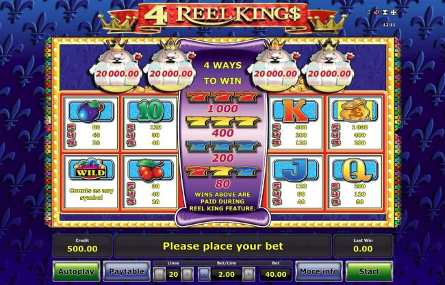 4 Reel King :: Paytable