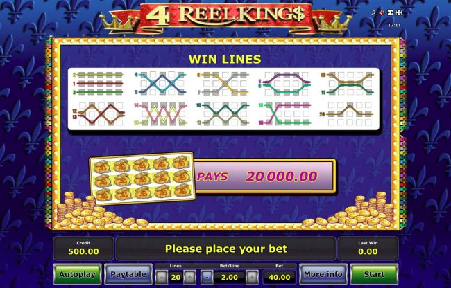 4 Reel King :: Paylines 1-20
