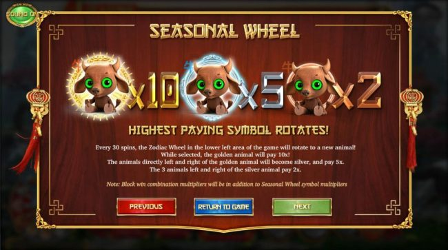 Seasonal Wheel, Highest paying symbol rotates! Every 30 spins, the zodiac wheel in the lower left area of the game will rotate to a new animal! While selected, the golden animal will pay 10x! The animals directly left and right of the gold animal will bec