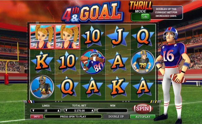 Drake featuring the Video Slots 4th and Goal with a maximum payout of $9,000