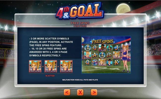 Free Spins Feature Rules - 3 or more scatter symbols in any position activate the Free Spins feature.