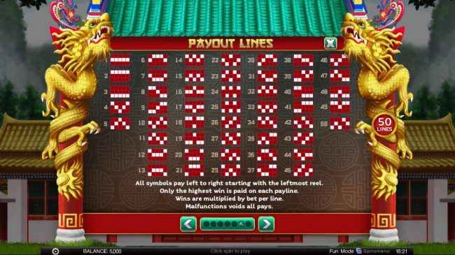 4 Winning Directions :: Paylines 1-50