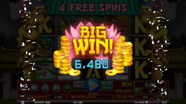 A 6480 coin big win triggered during the free spins feature