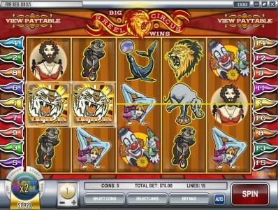 Riviera Play featuring the video-Slots 5 Reel Circus with a maximum payout of $75,000