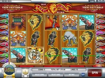 Ruby Royal featuring the Video Slots 5-Reel Circus with a maximum payout of $75,000
