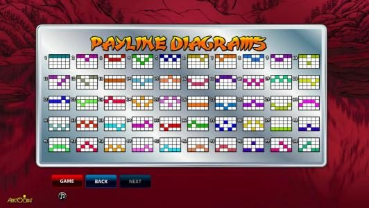 50 Dragons :: Payline diagrams