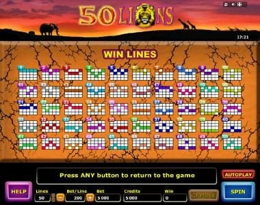 Slots Magic featuring the Video Slots 50 Lions with a maximum payout of $4,000