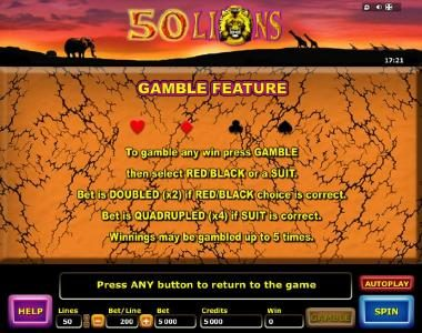 50 Lions :: Gamble Feature Game Rules