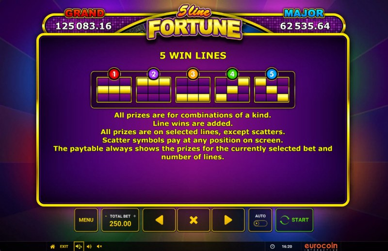 5 Line Fortune :: Paylines 1-5
