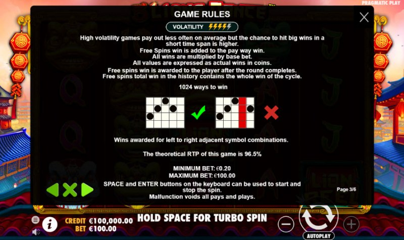 5 Lions Dance :: General Game Rules