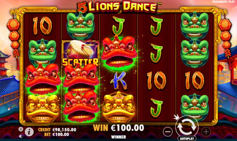 5 Lions Dance :: A three of a kind win
