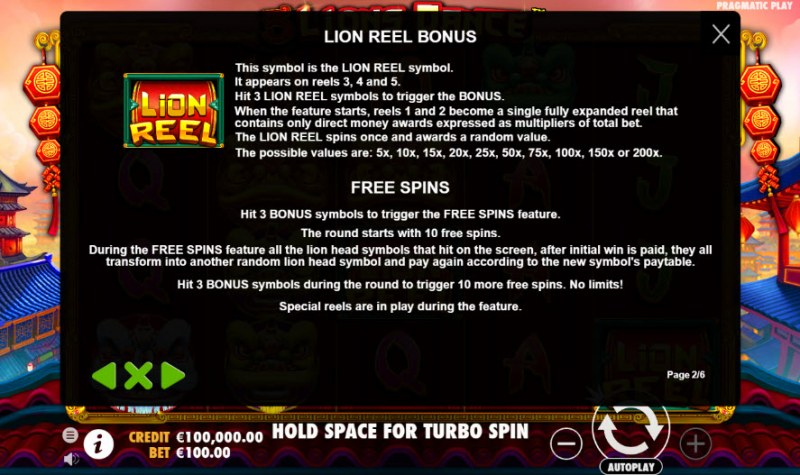 5 Lions Dance :: Feature Rules